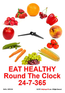 Clock face with vegetables as hour markers with words, eat healthy round the clock 24-7-365