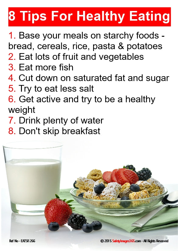Image of a glass of milk and a bowl of cereal and fruit with a list of tips for healthy eating.