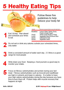 Images of fruit with a list of tips for healthy eating.