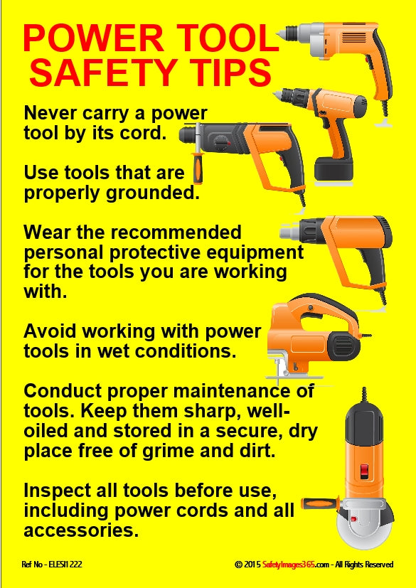 Electrical Safety Poster. Power tool safety tips ...