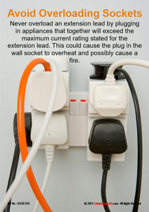 Photograph of an electric power point overloaded with too many electric plugs, adapters and extension leads.