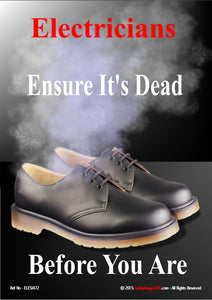 Image of smoke coming from an empty pair of work shoes signifying the dangers of working with live electricity.