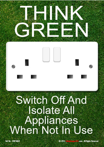 Image of a double electric socket with white text on a green background.