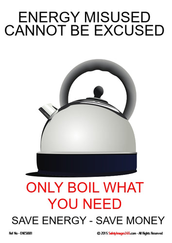 Picture of a kettle and the caption - only boil what you need.