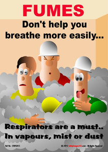 Three men in smoked filled room gasping for breath with wording, respirators are a must.