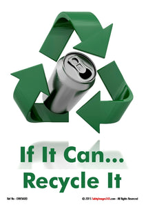 Image of a used drinks can on a white background with recycling symbol and green text.