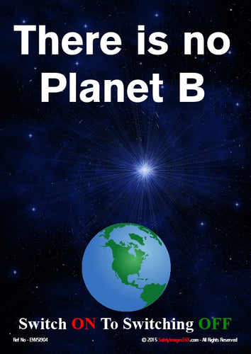 Picture of planet earth, the night sky with the caption there is no planet B..