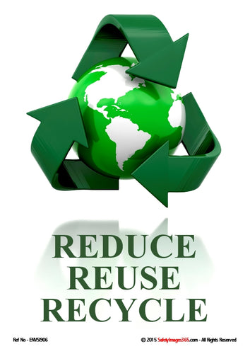 Picture of the symbol for recycling wrapped around planet earth with the words - reduce, reuse and recycle,