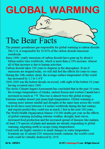 A picture of a polar bear with list of facts about global warming.