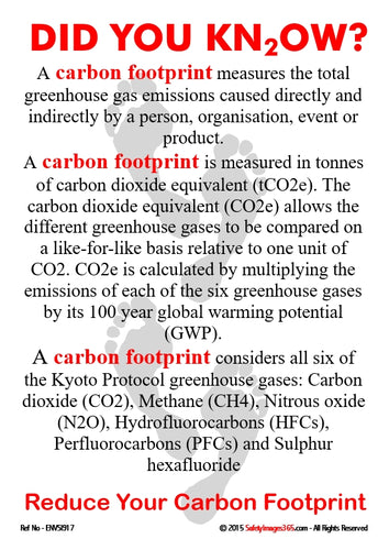 Image of grey footprints on a white background with information about carbon footprint.