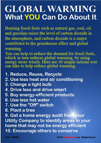 A list of actions which can be taken to reduce global warming.