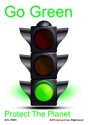Image of traffic lights showing green on a white background with green text.