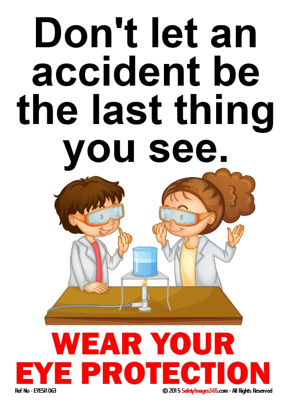 Picture of a man and woman wearing safety glasses with the words wear your eye protection.