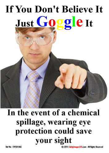 Picture of a man wearing a shirt, tie and jacket and safety goggles.