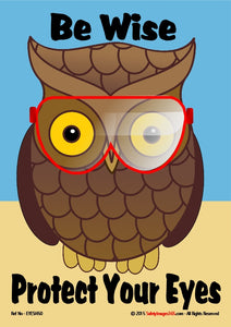 Picture of owl wearing safety glasses with the words, be wise protect your eyes.