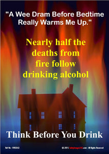 Image of a house going up in flames and information about the link between alcohol and deaths from fire.
