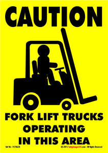 Silhouette of fork lift truck and driver against yellow background warning that fork lifts operate in the area.