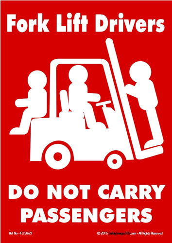 White silhouette on a red background of a person driving a fork lift truck carrying two passengers.