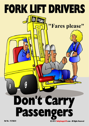 Cartoon depicting a woman collecting fares from two passengers riding on a fork lift truck.