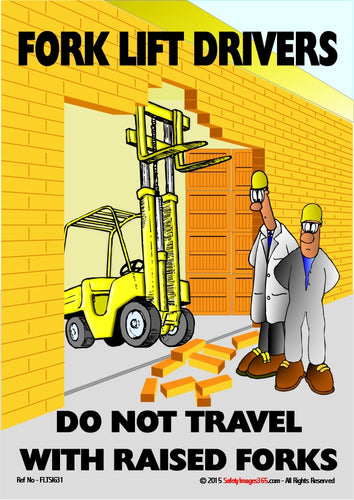 Cartoon showing two men looking at damage done to a brick wall by a fork lift truck with raised forks.