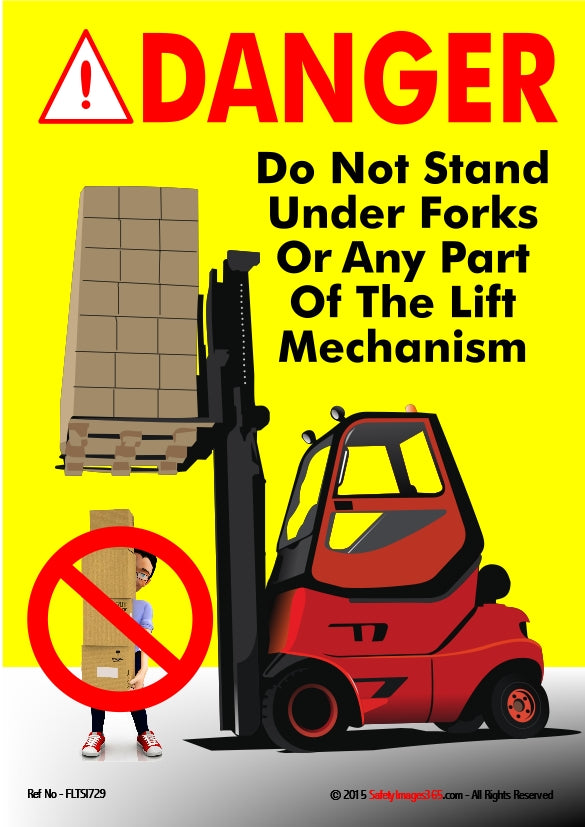 Picture of a person walking beneath raised forks carrying a stack of boxes and a danger sign.