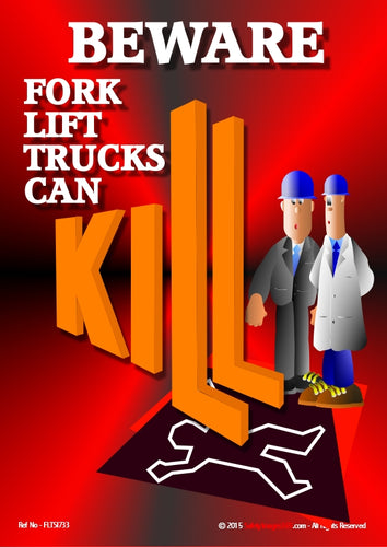 A picture of two male cartoon characters looking at the outline of a body on the ground flattened by the word KILL with the letters L depicted by the forks of a fork lift truck.