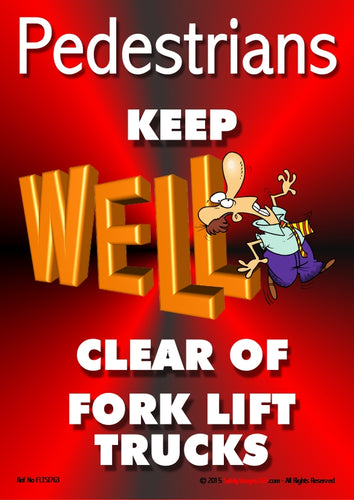 Picture of the letters L in the word WELL depicted as the forks of a fork lift truck colliding with a cartoon character.