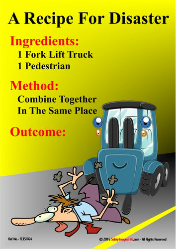 Cartoon depicting a collision between a fork lift truck and a person.