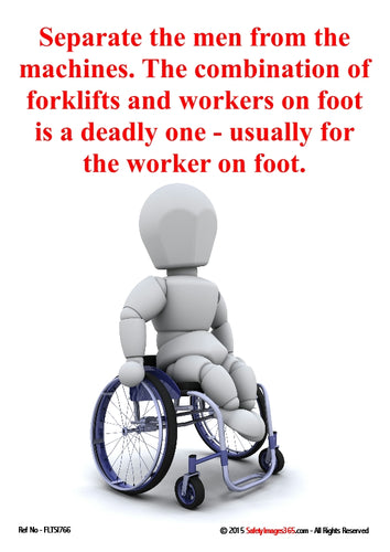 Image of a bubbleman character in a wheelchair depicting accidents caused by fork lifts.