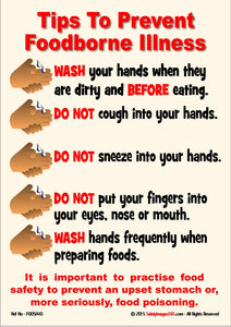 Picture of human hands representing bullet points of tips to help minimise the chances of contracting foodborne illness.