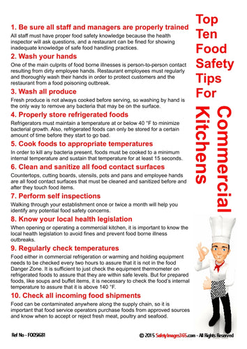 A list of ten food safety tips for commercial kitchens presented by a character wearing a chef's hat.