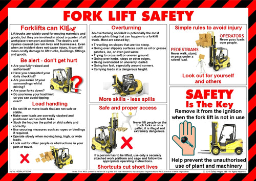 Fork Lift trucks and people in various poses showing the right and wrong way to manage Fork Lift Trucks.
