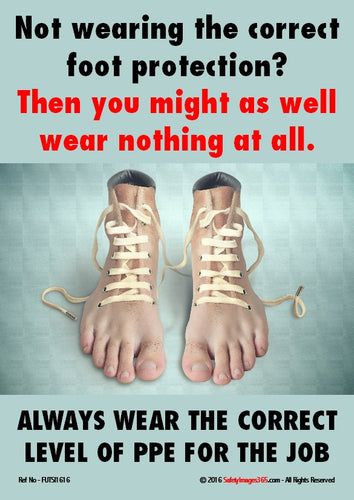 An image depicting a pair of human feet as shoes to highlight the dangers of not wearing safety footwear at work.
