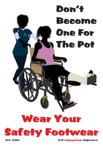 Silhouette of a person with a foot injury being pushed in a wheelchair.