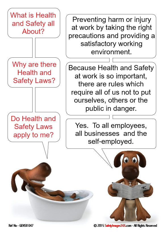 Image of two cartoon dogs in a bathroom discussion health and safety.