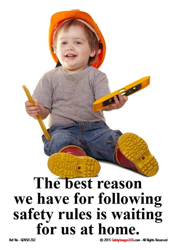 Image of a toddler with safety message in black text on a white background.