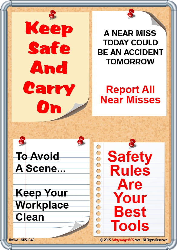 Image of a noticeboard with safety messages attached.