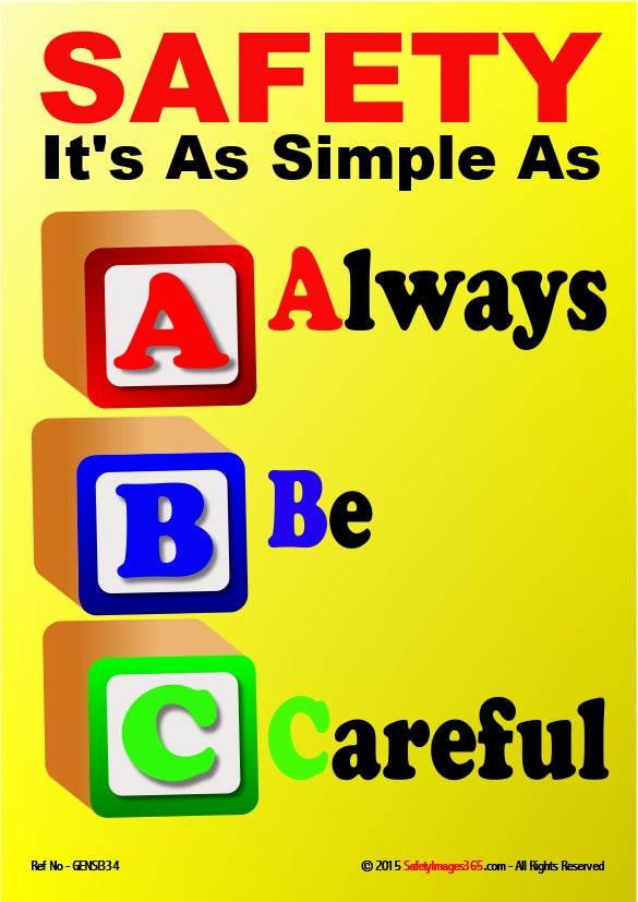 Image of building bricks with the letters ABC depicting the words - always be careful.