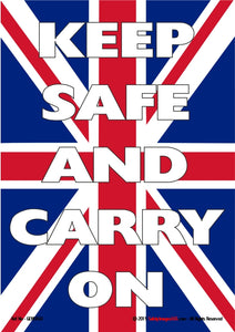 Union Jack flag with text - Keep safe and carry on""