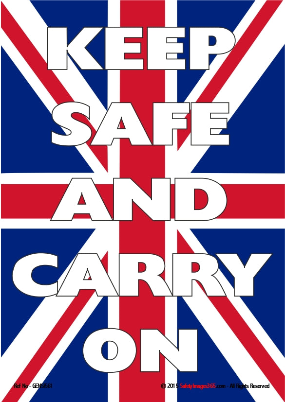 Union Jack flag with text - Keep safe and carry on