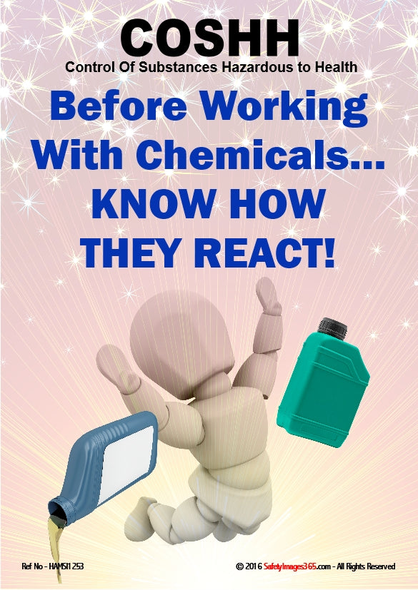 A picture of a bubbleman carrying chemicals falling down with the caption before working with chemicals know how they react.