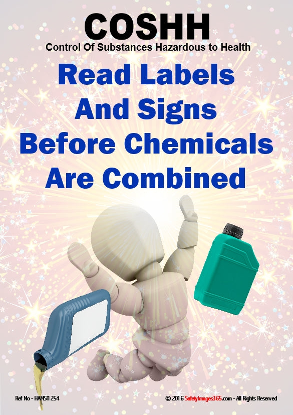 Bubbleman character falls over whilst carrying chemicals with the caption read labels and signs before chemicals are combined.