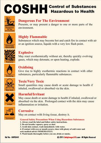 Text only poster with COSHH regulations. Control Of Substances Hazardous to Health