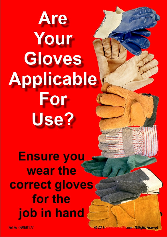 Picture of a selection of protective gloves and the caption ensure you wear the correct gloves for the job in hand.