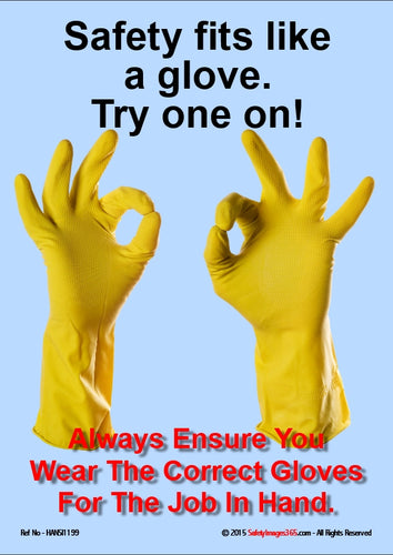 A pair of rubber gloves making the OK sign.