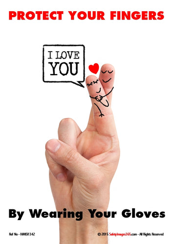 Picture of a human hand with entwined fingers and the words I love you.