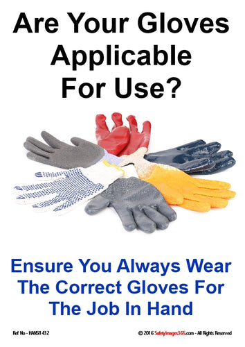 Picture of different types of safety gloves.