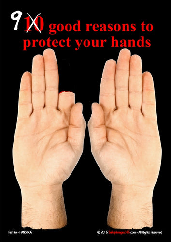 Picture of a human hand with a missing index finger and the caption 9 good reasons to protect your hands.