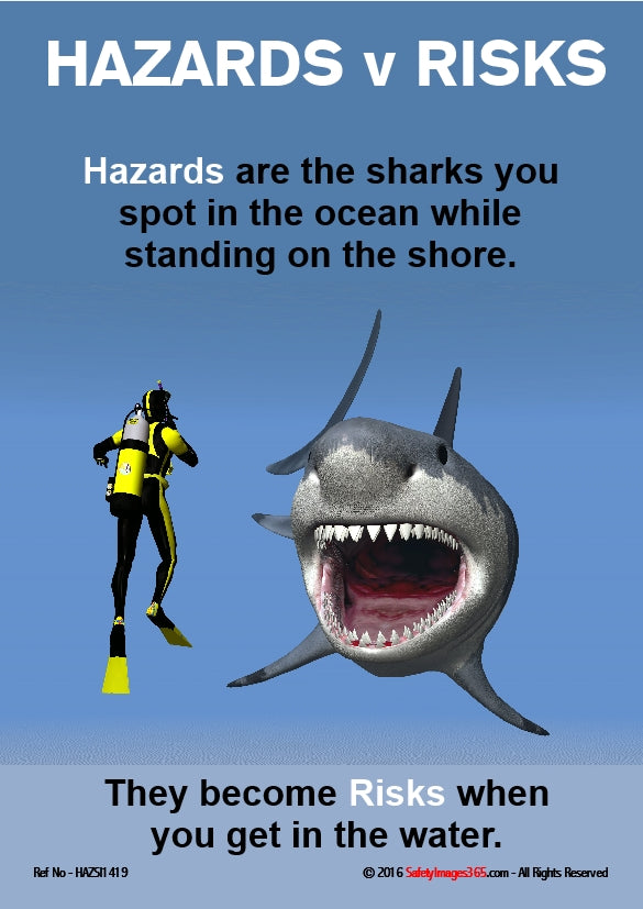 Scuba Diver in water with shark. Caption differentiates between Hazards and Risks.