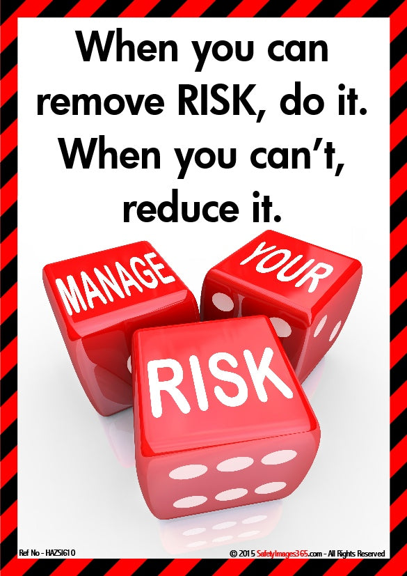 A picture of three red dice with the words manage your risk and the caption when you can remove risk, do it, when you can't reduce it.